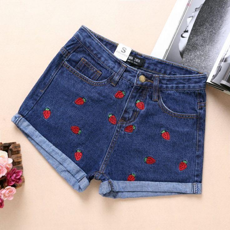 Женщины повседневные джинсы 2016 летний новый Корейской моды клубника вышивка джинсы джинсовые шорты керлинг женщина