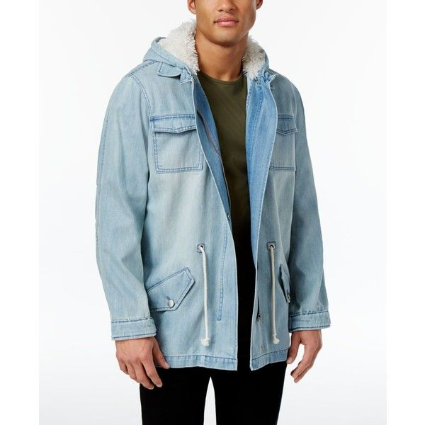Jaywalker Men's Parka Jacket ($68) ❤ liked on Polyvore featuring men's fashion, men's clothing, men's outerwear, men's jackets, bright blue, mens hooded denim jacket, mens parka jacket, mens hooded jackets and mens jackets