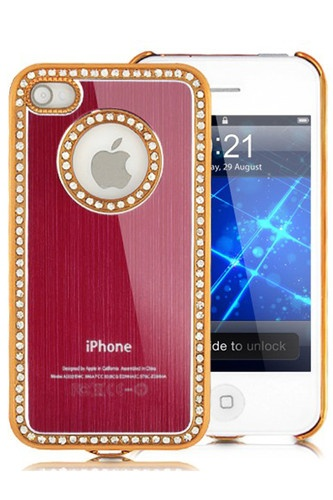 Rhinestone Inlaid Brushed Hard Case For iPhone 4 - 4S