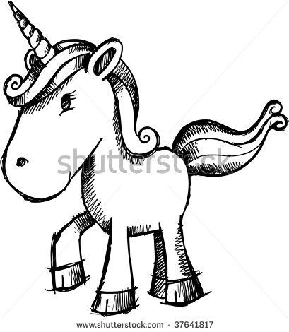 stock vector : Doodle Sketchy Unicorn vector