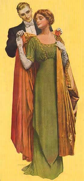 """1912 evening gown and formal wrap.  These loose wrap-coats were extremely popular in the Edwardian era, and developed into the even more popular """"cocoon"""" coats of the 1920's."""