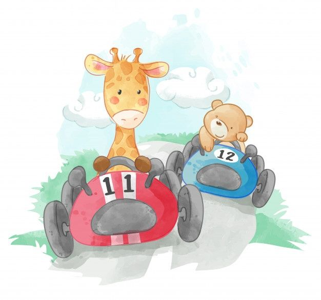 Cute Animal Racing Cars Illustration Baby Animal Prints Nursery Cute Animals Car Illustration