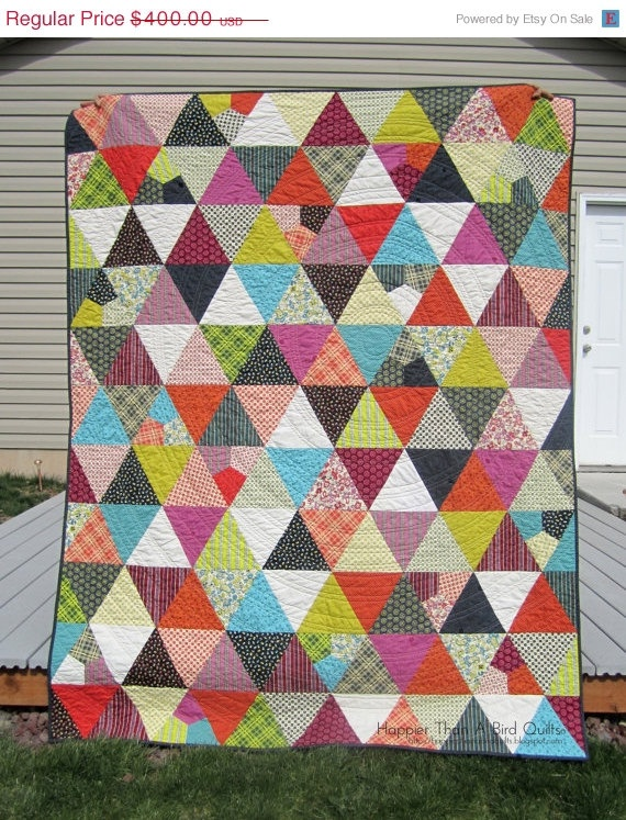 ON SALE Chicopee Triangles Twin Quilt by HappierThanABird on Etsy, sale price $300.00