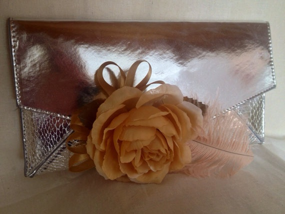 Champagne rose and feather clutch clip by DesignedbyDivas on Etsy, $29.95