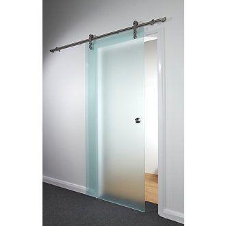 Sliding Door Kit Opaque Glass 840 x 2080mm | Internal Glass Doors | Screwfix.com