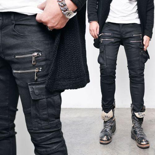 Coated Black Double Zip Slim Cargo Jeans 265 via SNEAKERJEANS STREETWEAR SHOP