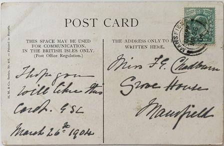 ロンドンで仕入れたアンティークポストカードです。絵に画家M.Stocksのサインがあります。きょうだいを毛づくろいしてやっている優しい仔猫の絵はがきです。エドワード7世の切手、消印はMansfield(マンスフィールド)から、1904年3月26日8.45PMとあります。書いた日付と「このカードがお気に召したら…」と書かれていますが、相手は猫好きだったのでしょうか? 100年以上前の人々の交わした手紙ですが、そんなことを想像すると急に身近な存在に思えてきますね。