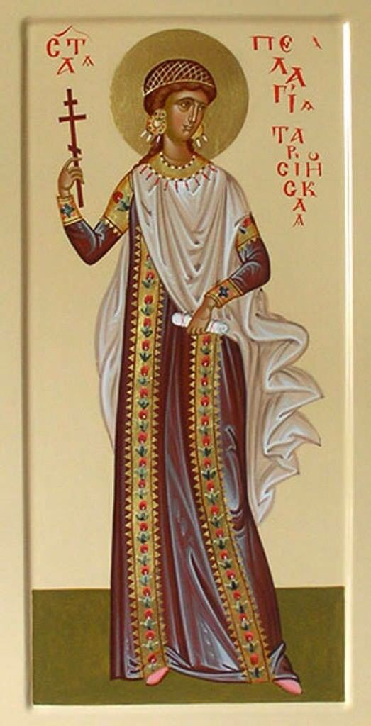 "St. Pelagia, was an actress of Antioch, equally celebrated for her beauty, She passed Bishop St. Nonnus of Edessa, who was struck with her beauty, she was so moved by his sermon that she asked him to baptize her which he did. She gave her wealth to Nonnus to aid the poor & left Antioch dressed in men's clothing. She became a hermitess in a cave on Mount of Olivette in Jerusalem, where she lived in great austerity, and known as ""the beardless monk"" until her sex was discovered at her death."