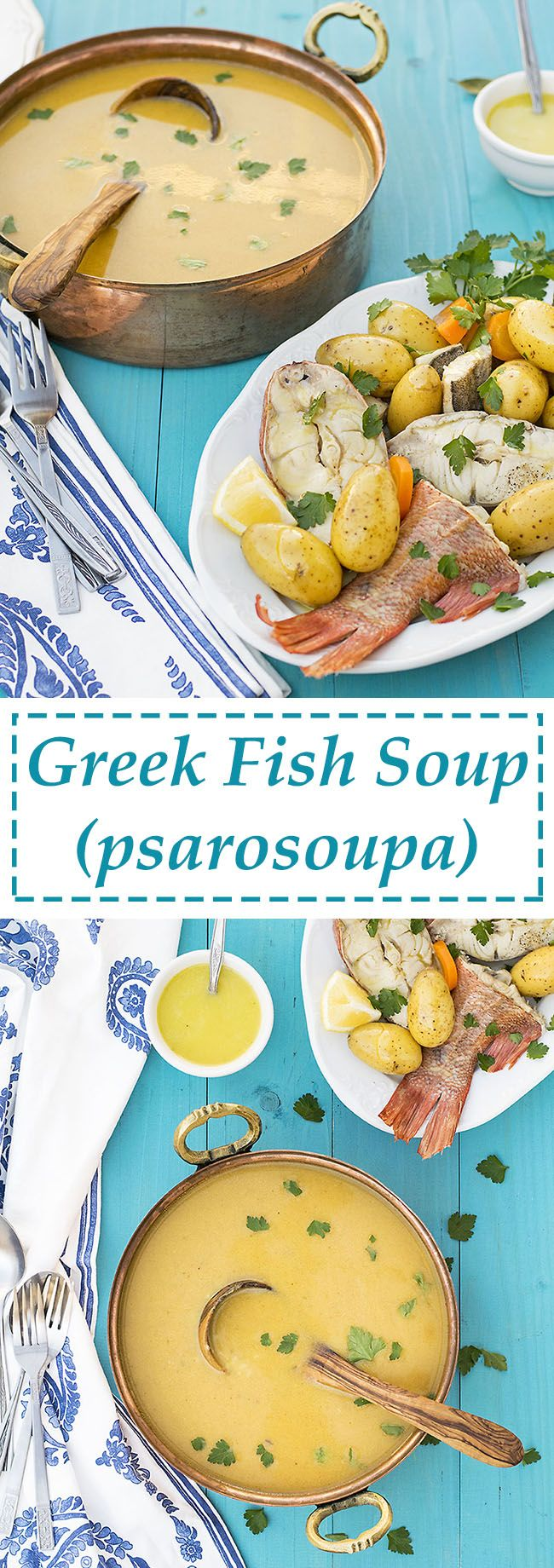 This Greek fish soup with potatoes and vegetables is a healthy and naturally gluten-free recipe for a wholesome and cozy family dinner.