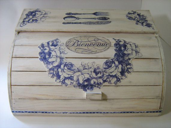 10% OFF: White Shabby Chic Provence Roll Top Wooden Bread Box Decoupaged