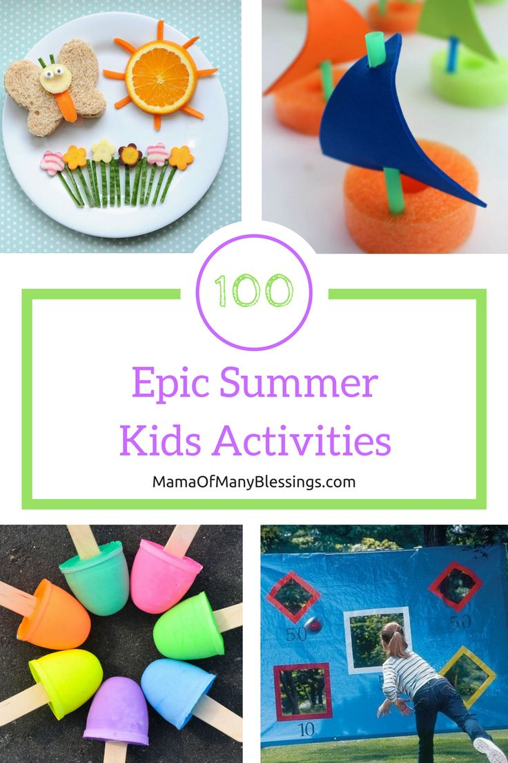 100 super fun summer activities to keep your kids busy all summer long and make for a summer your kids will never forget. Included are healthy summer snack ideas, summer sensory play ideas, summer arts and crafts, and summer activities. Inexpensive and fun ways for kids to have fun!