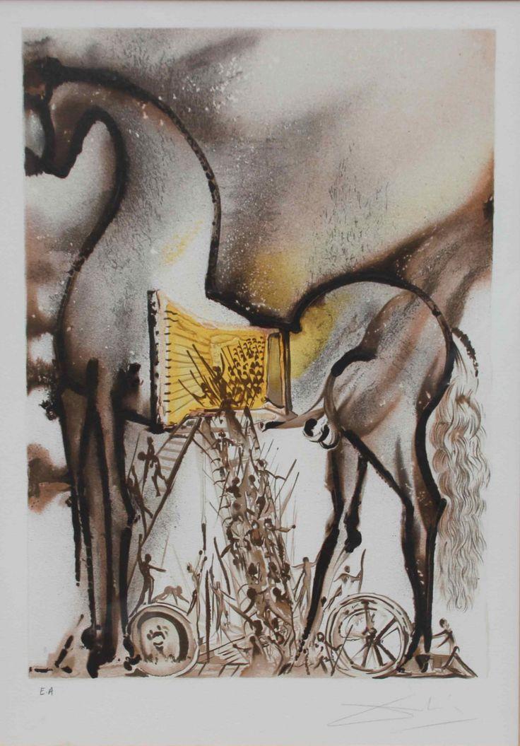 """Salvador DALI (1904-1989) Le cheval de Troie de la série """"Les chevaux Daliniens"""". Lithographie en couleur sur papier. Epreuve d'artiste. Signé en bas à droite. 48 x 34 cm   : Salvador DALI (1904-1989) - Le cheval de Troie de la série """"Les...   In the sale Vente de Prestige at Carvajal"""