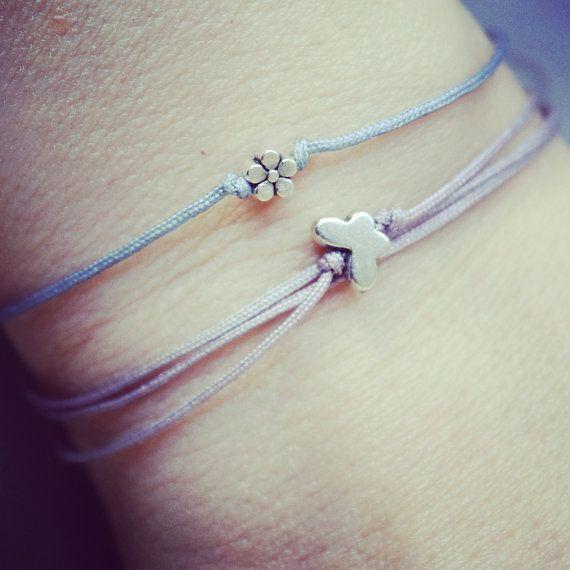 Tiny Butterfly Bracelet Skinny Purple Stacking by INOMINOS on Etsy