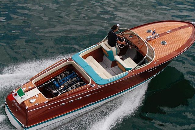 """Via thehardt Weekend vibes with Carlo Riva and Ferruccio Lamborghini, both masters of their crafts, who joined forces in early 1968 to create The Lamborghini Aquarama. This Aquarama would be fitted with a pair of Lamborghini V12's. This Aquarama was recently on sale, privately, and let's just say it's a very expensive """"hobby"""" #boat #speedboat #vintageboat #wood #timber #lines #lake #ocean #lamborghini #lambo #icon #iconic"""