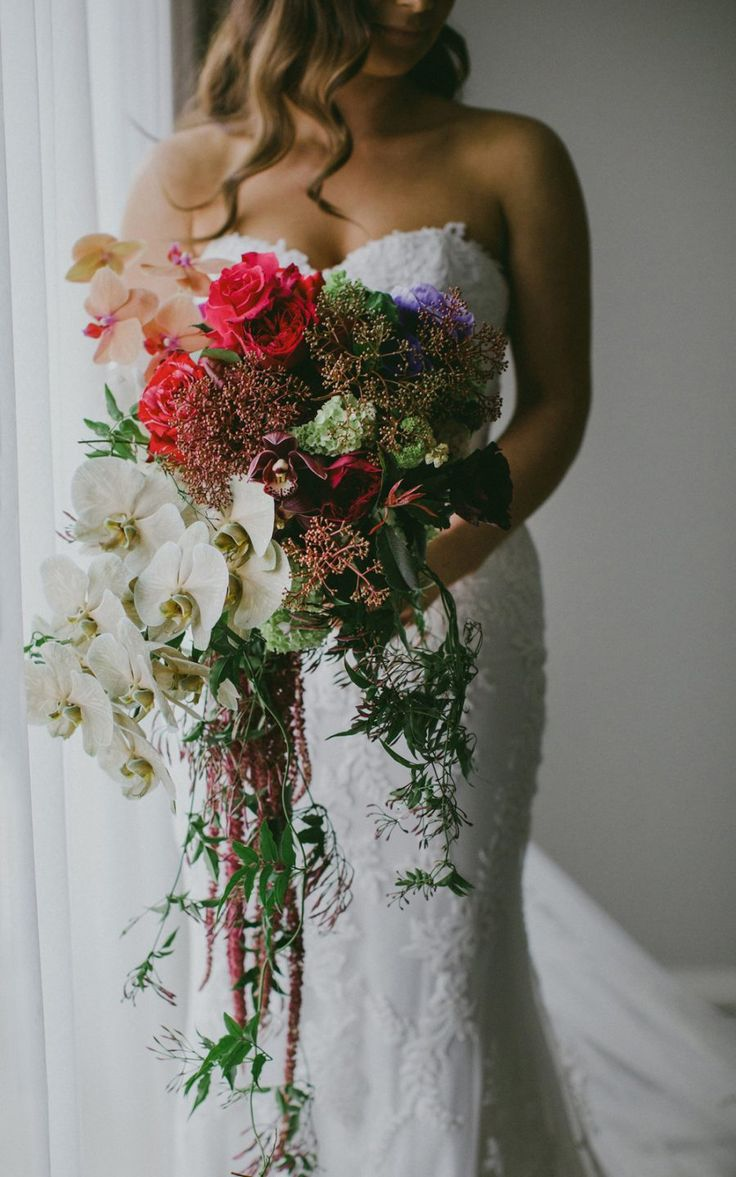 Unstructured Bridal Bouquet With Orchids And Amaranth