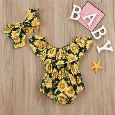 USA Stock Newborn Baby Girls Flower Romper Bodysuit Jumpsuit 2PCS Outfit Clothes #clothes #girls #fashion #trend #moda