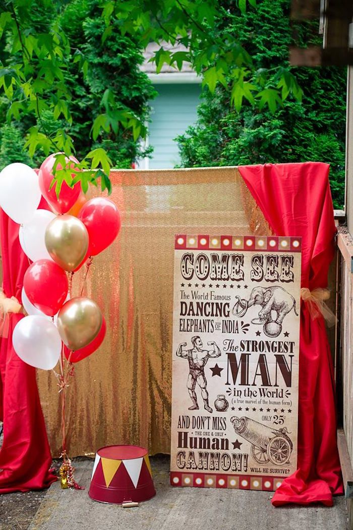 vintage circus birthday party inspired by the greatest. Black Bedroom Furniture Sets. Home Design Ideas