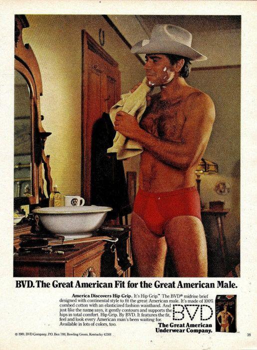 """1980 BVD Underwear Ad """"Cowboy: Red Briefs"""""""