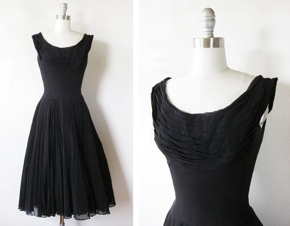 1960s black chiffon dress / vintage 60s black party dress / full skirt mid century cocktail dress
