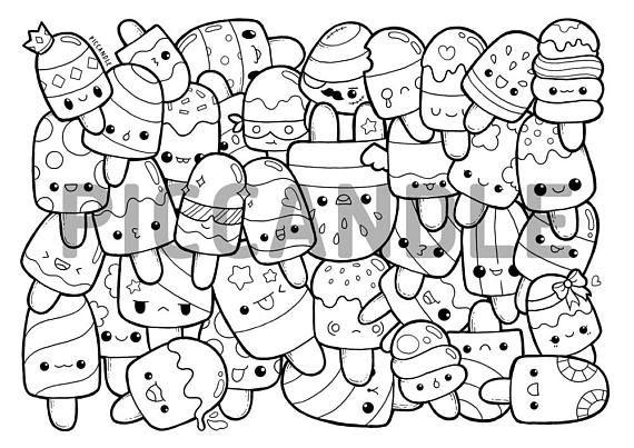 Popsicle Doodle Coloring Page Printable Cute Kawaii Coloring Page For Kids And Adults Malvorlage Einhorn Malvorlagen Fur Kinder Wenn Du Mal Buch