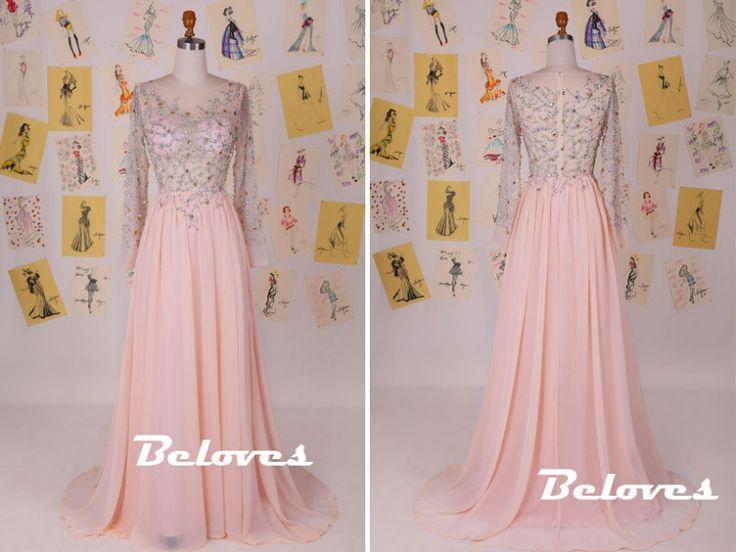 Prom Dress, Pink Dress, Long Dress, Sheer Dress, Chiffon Dress, Beaded Dress, Dress With Sleeves, Pink Prom Dress, Prom Dress With Sleeves, Long Chiffon Dress, Long Prom Dress, Long Dress With Sleeves, Pink Chiffon Dress, Dress Prom, Long Pink Dress, Bodice Dress, Pink Long Dress
