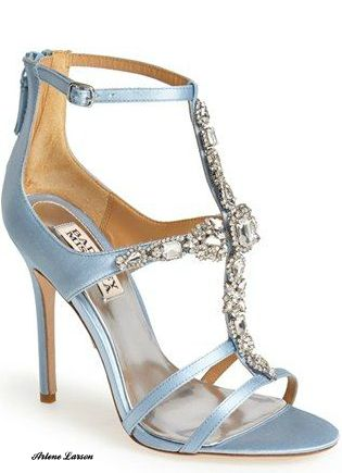 Badgley Mischka light baby blue sandals with jeweled straps shoes.