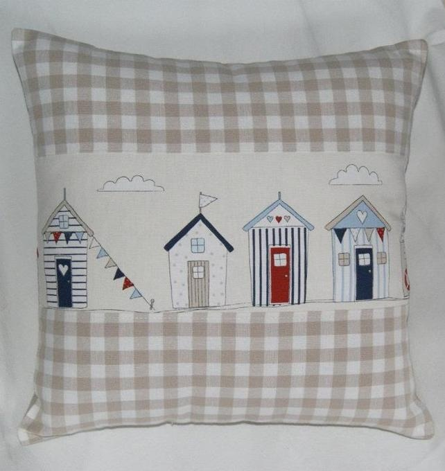 Sweet Beach Huts & Gingham Cushion Cover £6.99