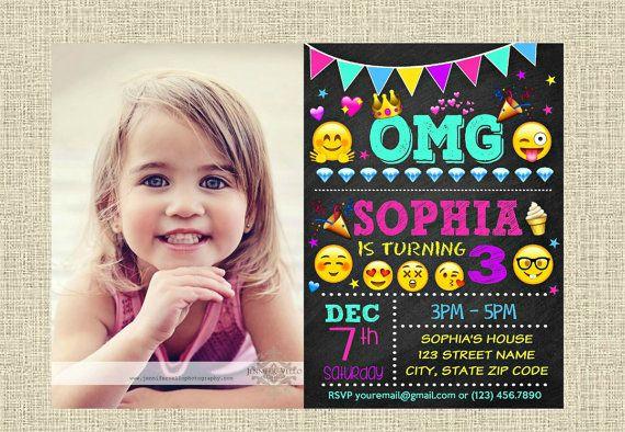 Emoji Invitation Happy Birthday Party Invite by CrystalDigiShop