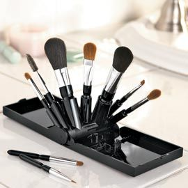 looking for some sort of makeup brush stand that doesn't take up the counter space of a brush roll for travel