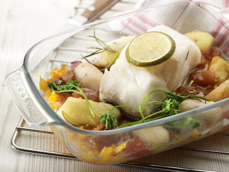 Recept aardappelen in de oven met kabeljauw, tomaat en provençaalse kruiden