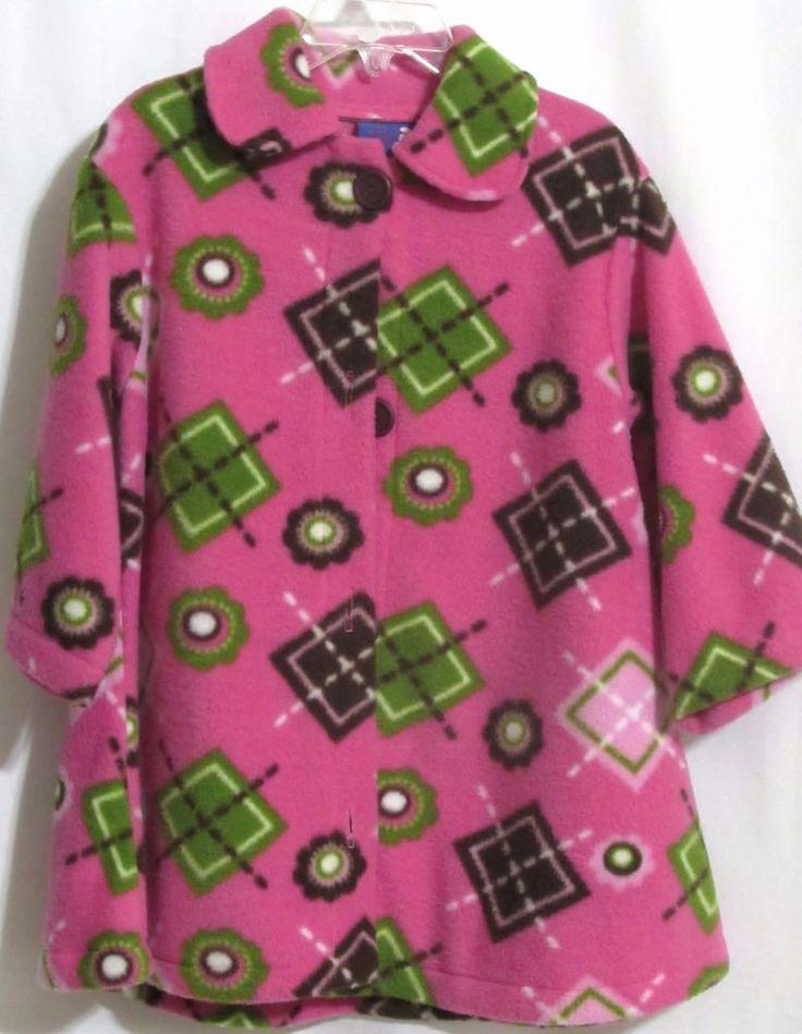 NEW Girls FLAP HAPPY Bright PInk Geometric Green & Brown Design Fleece Jacket M  #FlapHappy #FleeceJacket #Everyday