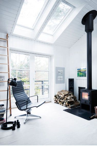 fireplace + skylight
