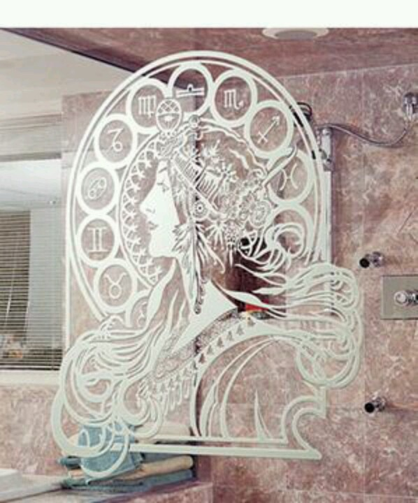 This Mucha Shower Door With Rose Marble Is A Little Over The Top But  Consider Etched Glass For Frosting A Bathroom Window.