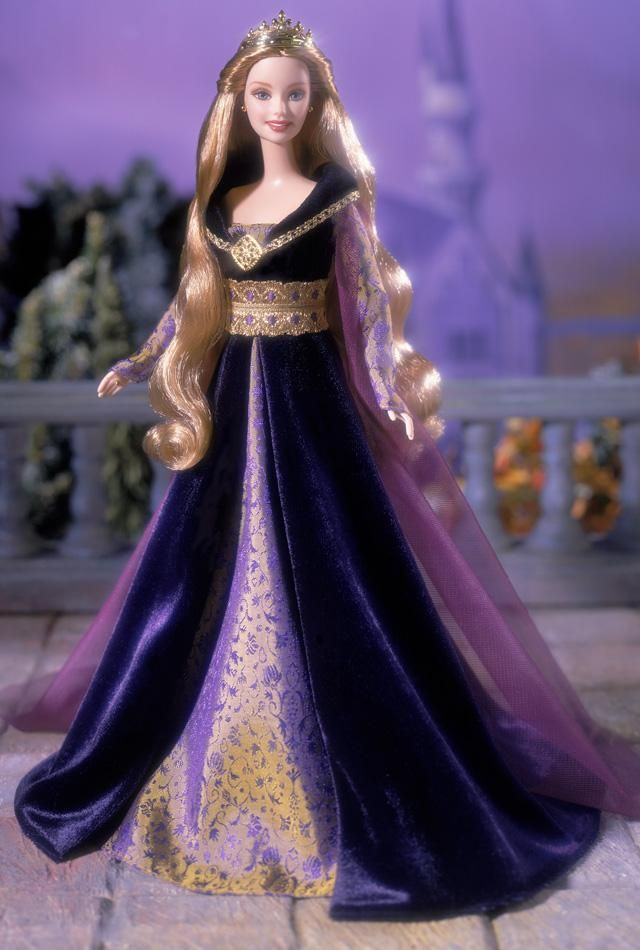 Princess of the French Court™ Barbie® doll is inspired by the grandeur of the Age of Chivalry, a time of romance and valor. She wears a regal gown of deep, rich purple, the color of royalty. The split skirt is designed with an inset of purple and golden jacquard. Lavishly embellished with golden trim and a gleaming golden medallion, the dress is complemented by a golden ring and earrings.