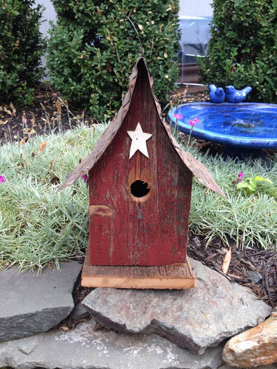 Reclaimed Wood Birdhouses with Corrugated Metal Roofs