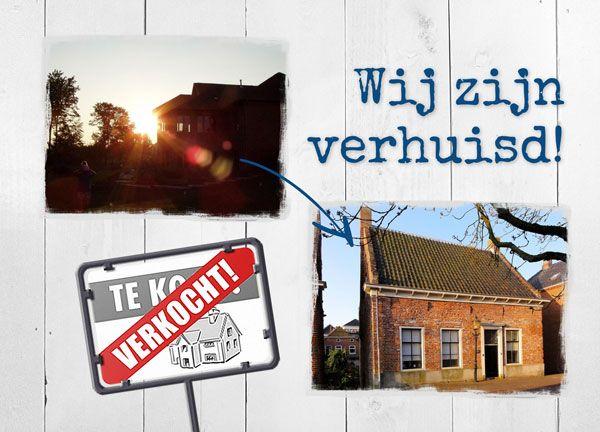 Verhuiskaart: Wij zijn verhuisd, met een foto van de oude en de nieuwe woning