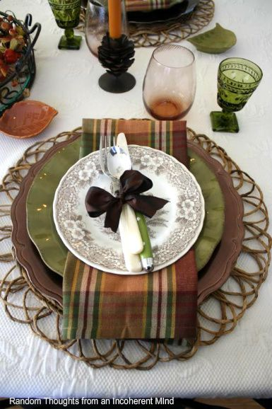 Thanksgiving place setting. I love the colors and the plaid napkin!: