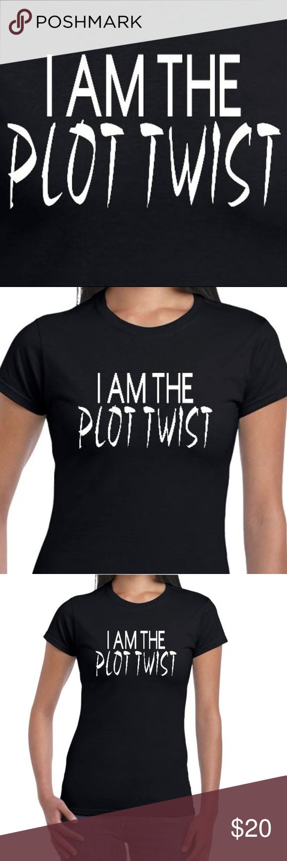 """Reflective or Glow In The Dark Plot Twist Tee """"I Am The Plot Twist"""" T-Shirt.  IMPORTANT: Default order is """"Glow In The Dark"""". For the """"Reflective"""" option, please tag us upon ordering!  - Design & Design Material: 100% Made In The USA - Base Tees Are Fitted & Cotton Plant Based: No Slave Labor, No Sweatshops, etc - Glow In the Dark Designs Are White & Glow a Vibrant Green. - Reflective Designs are Silver & Reflect Bright White (Can be seen from 500+ Feet Away!) - Great for clubs, raves…"""