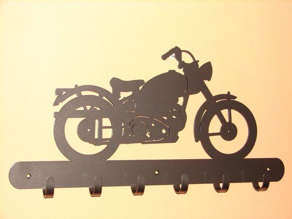 $60 - Vintage Motorcycle COAT RACK Robe Hook Metal Cabin Old Harley Shop Garage