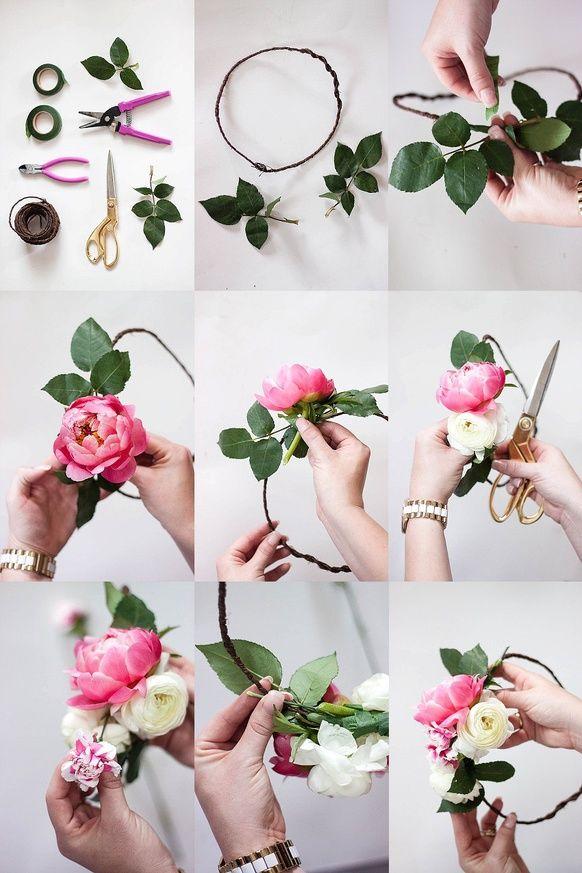 How to make a flower crown // flower crown bar // bridal shower // DIY FLOWER CROWN