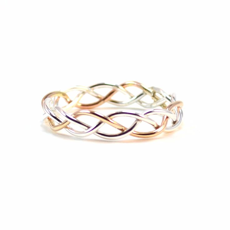 Gold and Silver Braided Ring. Alternative Wedding Band