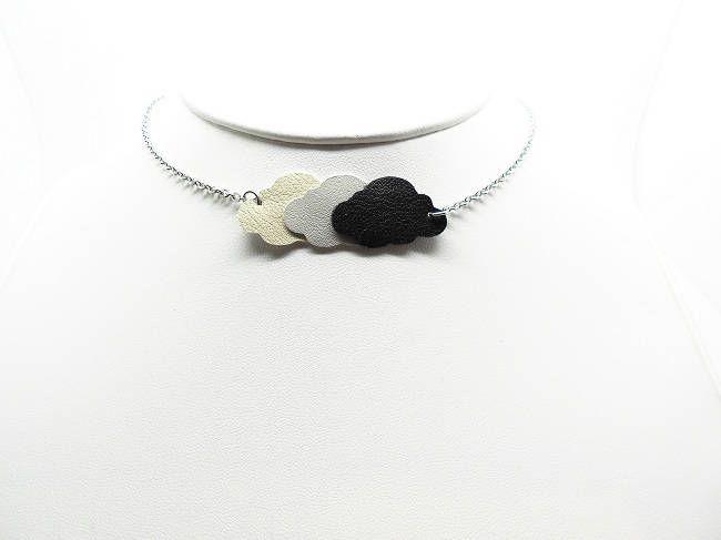 collier inox avec nuages en cuir divers modèles de la boutique bout2bijoux sur Etsy