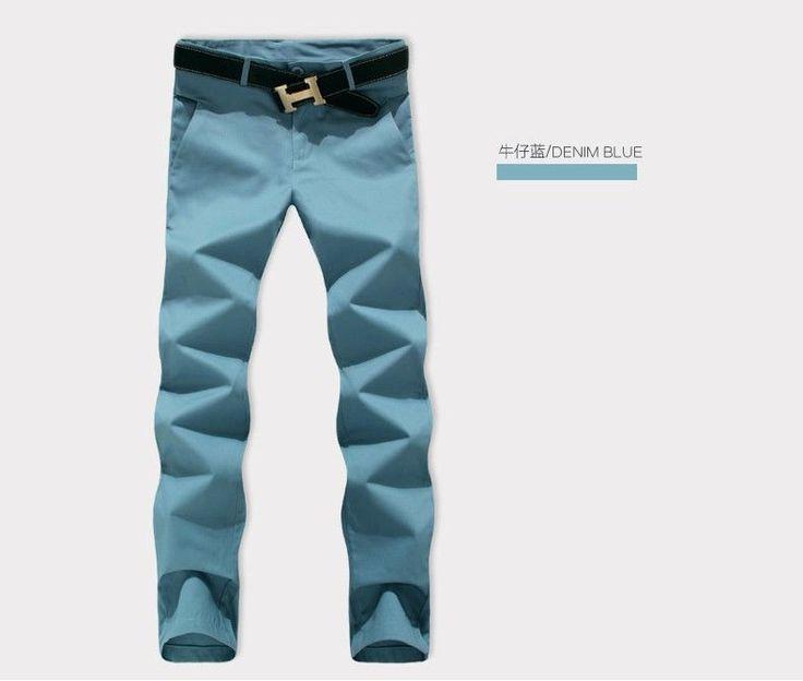 New Mens Casual Pants Fashion Slim Fit Business Cotton Trousers 8 Colors