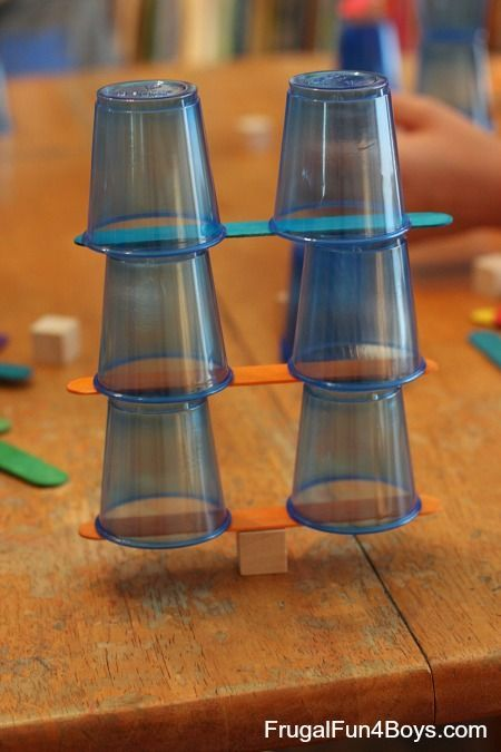 4 STEM Engineering Challenges for Kids (Cups, Craft Sticks, and Cubes!) - Frugal Fun For Boys
