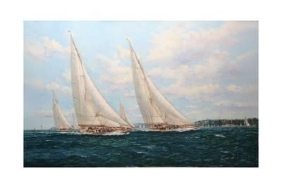 J Class Yachts Racing Off Cowes 1935 Giclee Print by John Sutton at Art.com