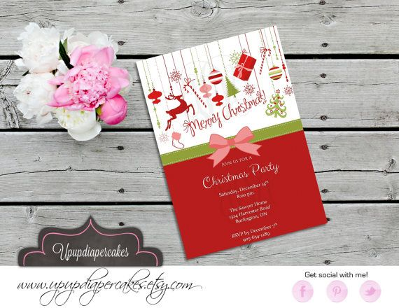 Christmas Party Invitation--Christmas Invite--Christmas Ornaments--Printable Invite