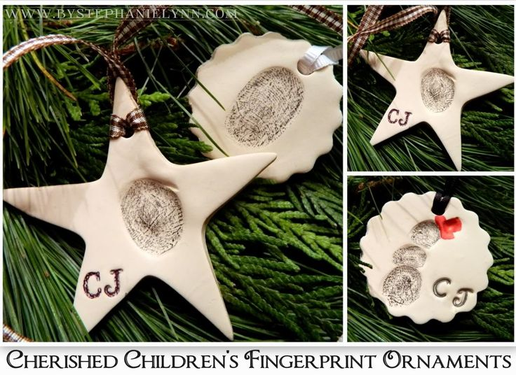 Make Your Own Cherished Children's Fingerprint Ornaments from Clay .... Be SURE to date the back.   :)))