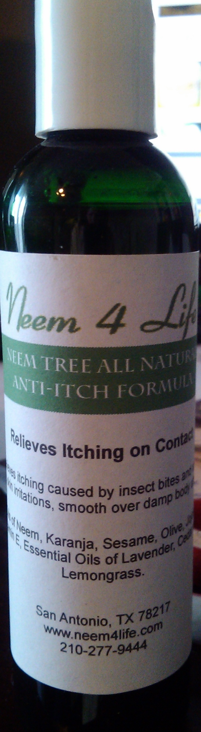 The Amazing Neem Anti Itch Formula  Whatever Is making you itch, be it insect bites, skin rashes, alergies, etc...This Neem Product will Stop that Itch, Relieve that Irritation, and Protect you.  Long lasting And NATURAL...MADE FROM NATURES AMAZING NEEM TREE....