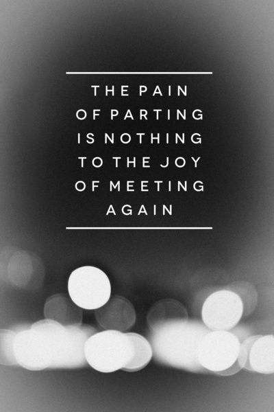 """""""The pain of parting is nothing to the joy of meeting again"""" -- Charles Dickens 