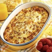 Sausage, Egg, Cheese, Croissant Breakfast Casserole. Easy and Delicious, should be perfect for my Mother's Day Breakfast in Bed :)